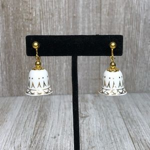 Bell Clip On Gold Tone & White Porcelain Holiday